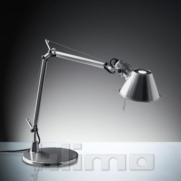 Artemide A011800 Tolomeo Micro Tischleuchte mit Fuß (E14, 40 Watt (Halogen), IP 20) aluminium
